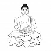 Buddha Sitting On Lotus Line Art Elegant Vector Illustration. The Symbol Of Hinduism, Buddhism, Spir poster