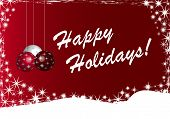 stock photo of happy holidays  - A Red and White Happy Holidays Background Illustration - JPG