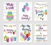 Happy Birthday Cards Set. Greeting Cards With Balloons, Cakes, Gifts And Flags. Birthday Lettering T poster