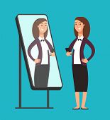 Happy Smiling Narcissistic Confident Businesswoman Looking At Reflection In Mirror. Self Love Vector poster