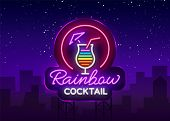 Cocktail Logo In Neon Style. Rainbow Cocktail. Neon Sign, Design Template For Drinks, Alcoholic Beve poster