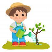 Growing Young Gardener. Cute Cartoon Boy With Watering Can. Young Farmer Working In The Garden. Gard poster