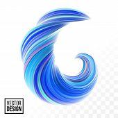 Abstract Vector Digital Color Paint Background. Creative Vivid 3D Flow Fluid Paint Wave. Trendy Blue poster