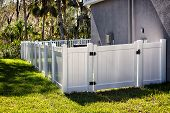White Solid Privacy Vinyl Fence With Gate Around House poster