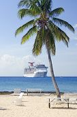 Tropical Cruise Ship And Beach