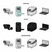 Home Appliances And Equipment Cartoon, Black, Monochrome Icons In Set Collection For Design.modern H poster