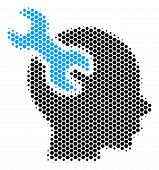 Halftone Hexagonal Brain Service Wrench Icon. Pictogram On A White Background. Vector Collage Of Bra poster