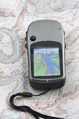 Hand Held Gps Unit On A Topo Map