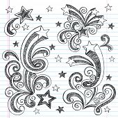 Shooting Stars Hand-Drawn Sketchy Back to School Notebook Doodles with Starbursts, Swirls, and Stars