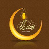 Ramadan Kareem Greeting Card Background With Islamic Symbol Crescent Moon. Ramadan Calligraphy With  poster