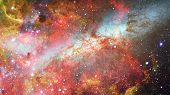 Nebula And Galaxies In Dark Space. Elements Of This Image Furnished By Nasa. poster