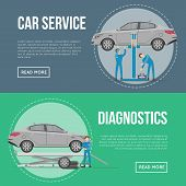 Car Diagnostics And Repair Services Flyers. Mechanic In Uniform Repairing Automobile At Auto Service poster