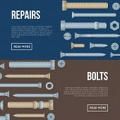 Construction Shop Horizontal Flyers With Realistic Steel Bolts And Screws. Hardware Store Poster, Bu poster