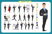 People Character Business Set.young Businessman In Formal Wear.different Poses And Emotions, Running poster