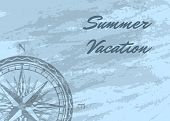 Summer Vacation Banner With Wind Rose On Grunge Blue Background. Geography Research, Worldwide Trave poster