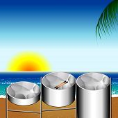 stock photo of steelpan  - Vector Illustration of three variations of Steel Pan Drums on the beach invented in Trinidad and Tobago - JPG