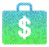 Halftone Dot Business Case Pictogram. Icon In Green And Blue Color Tinges On A White Background. Vec poster