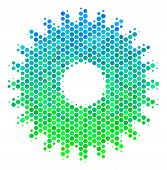 Halftone Circle Cogwheel Pictogram. Pictogram In Green And Blue Color Tones On A White Background. V poster