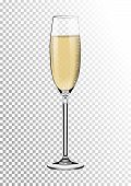 Realistic Glossy Transparent Glass Full Of Champagne. Bright Saturated Sparkling Straw Colored Amber poster