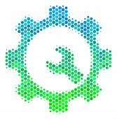 Halftone Round Spot Service Tools Pictogram. Pictogram In Green And Blue Color Tints On A White Back poster