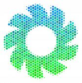 Halftone Round Spot Turbine Pictogram. Pictogram In Green And Blue Color Tones On A White Background poster