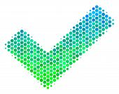 Halftone Circle Yes Pictogram. Pictogram In Green And Blue Shades On A White Background. Vector Conc poster
