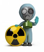 stock photo of breather  - 3d small person in a gas mask next to the sign of radiation - JPG