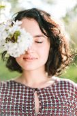 Weather, Lifestyle, Tenderness Concept. There Is Portrait Of Young And Happy Girl With Delicate Smil poster