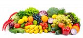 Large assortment useful vegetables and fruits isolated on white background poster