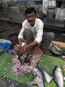 Selling Fish At A Street Market