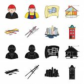 Drawing Accessories, Metropolis, House Model. Architecture Set Collection Icons In Black, Cartoon St poster