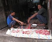 Streets Of Kolkata. Butcher