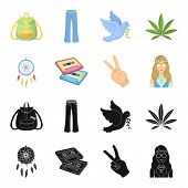 Amulet, Hippie Girl, Freedom Sign, Old Cassette.hippy Set Collection Icons In Black, Cartoon Style V poster