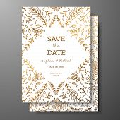 Wedding Vintage Invitation, Save The Date Card With Golden Twigs And Flowers. Cover Design With Gold poster