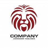 Lion Head Red Color Logo Vector, Lion King Head Sign Concept, Lions Head Logo, Lion Face Graphic Ill poster
