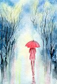 Rainy Spring Park, Girl Under An Umbrella, Cloudy Sky, Reflection Of Trees On Wet Paths. Hand-painte poster