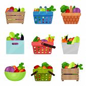 Set Of Wooden Boxes, Bowl, Containers, Shopping And Picnic Baskets With Fresh Vegetables. Natural An poster
