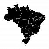 Political Map Of Brazil. Vector Illustration Design poster