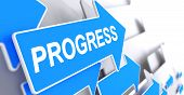 Progress, Text On Blue Arrow. Progress - Blue Arrow With A Text Indicates The Direction Of Movement. poster