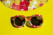 Studio Shot Of Colorful Sunglasses. Summer Is Coming Soon. Travel, Vacation, Summer Concept. Sunglas poster
