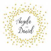 Golden Splash Or Glittering Spangles Round Frame With Center For Text. Wedding Invitation Elegant. G poster