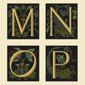 Sixteenth-Century alphabet M N O P in editable vector file