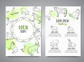 Hand Drawn Farm Animals Brochure. Local Farm Card. Farming Illustration. Vector Farm Elements. Hand  poster