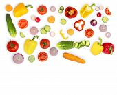Vegetable Mix On White Isolated Background. Fresh Yellow Pepper, Chopped Tomatoes, Onion, Round Cucu poster