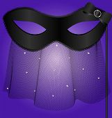 image of mummer  - on an violet background is a carnival black half mask decorated with veil and bow - JPG