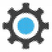 Halftone Dot Cogwheel Icon. Pictogram On A White Background. Vector Collage Of Cogwheel Icon Made Of poster
