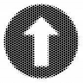 Halftone Round Spot Rounded Arrow Icon. Pictogram On A White Background. Vector Concept Of Rounded A poster