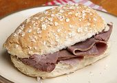 Roast beef in a wholemeal bread roll.