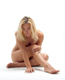 image of denude  - Beautiful sexual girl blonde pose on white background denuded - JPG