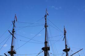 picture of pirate ship  - Rigging on the three masts of a dutch sailboat - JPG